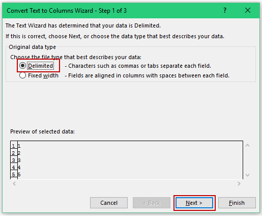 Convert Text to Numbers in Excel - text to column step1
