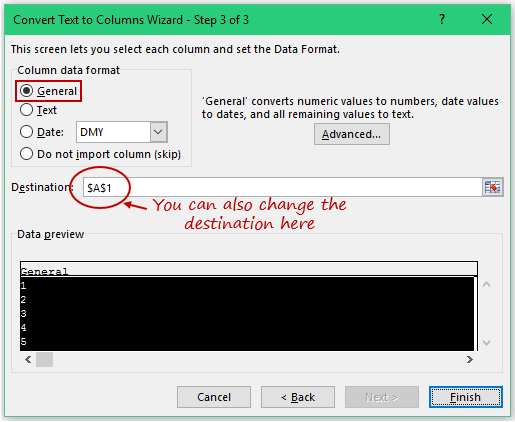 Convert Text to Numbers in Excel - text to column step3