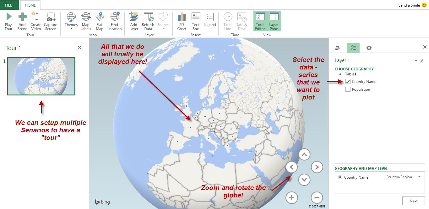 An introduction to excel power map sheetzoom excel tutorials we can see a very basic plot on the globe if we zoom in we can see further details but what we are looking at right now are just the geographic gumiabroncs Gallery