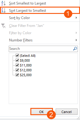 Sort largest to smallest in your filter